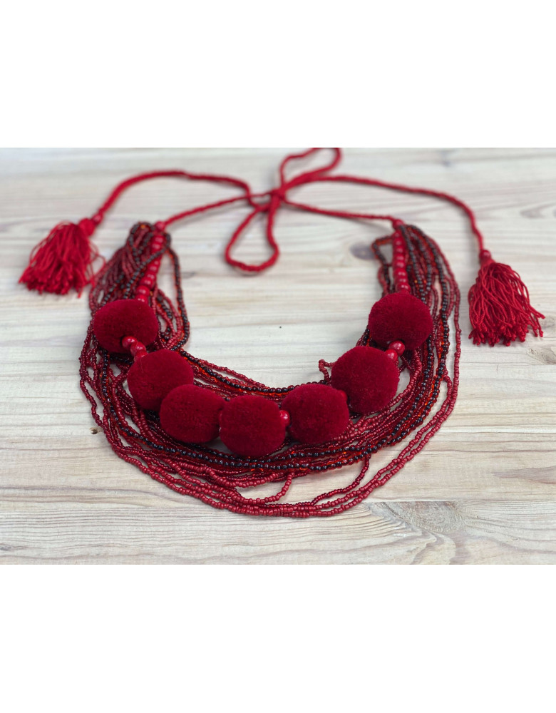 Red Beaded Necklace with Tassels