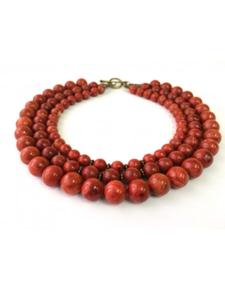 Three-row Terracotta Coral Necklace
