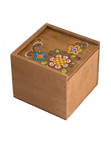 Коробка з фанери 14*14 темна з пташкою