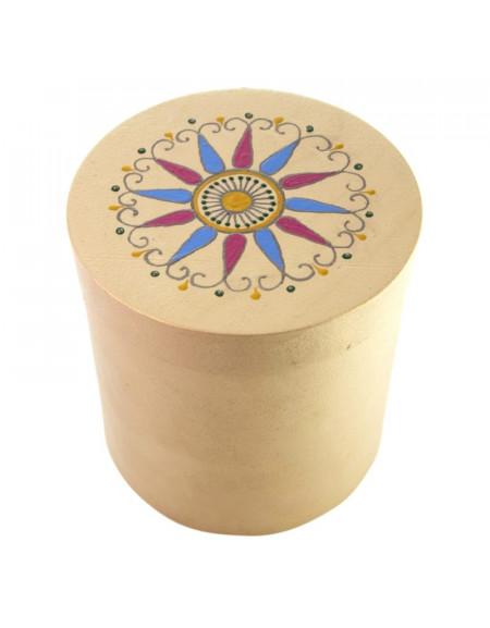 Коробка деревяна циліндрична біла 15х15см