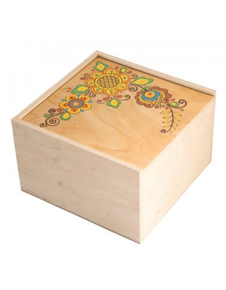 Коробка з фанери 22*22 світла з квіткою
