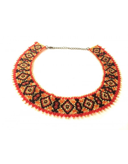 Beaded Necklace (red, black and gold)