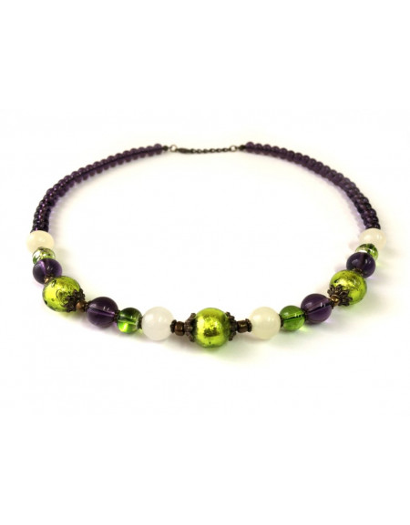 Venetian glass bead necklace with №10