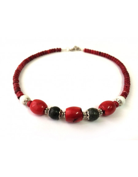 Coral necklace with Glass beads and Noble Serpentine