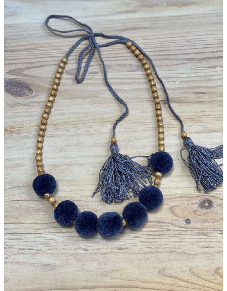 One Row Gray Necklace with Tassels