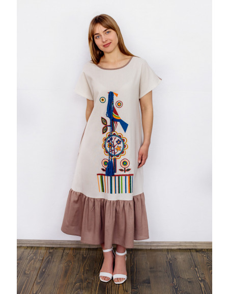 Linen Dress with a Bird