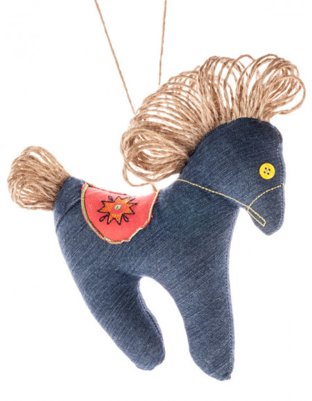 Denim horse with an embroidered saddle