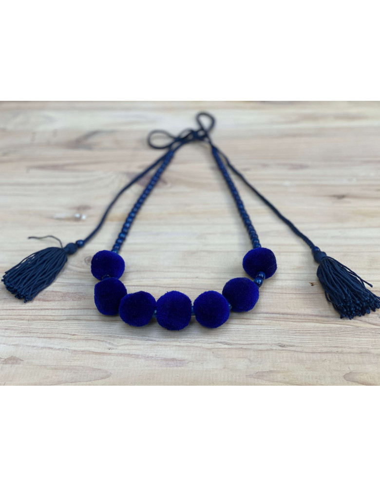 One Row Blue Necklace with Tassels