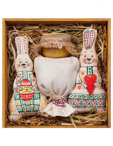 Пасхальный Набор №52а. Деревянная коробка, Зайчики, чай, мед, сено