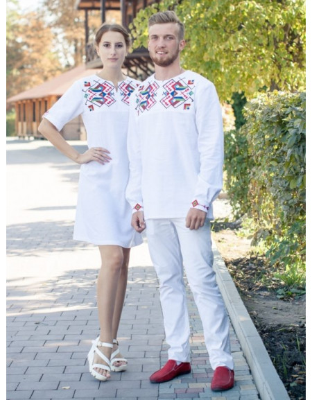 Twin shirts 'With Geometric Embroidery' (white linen)