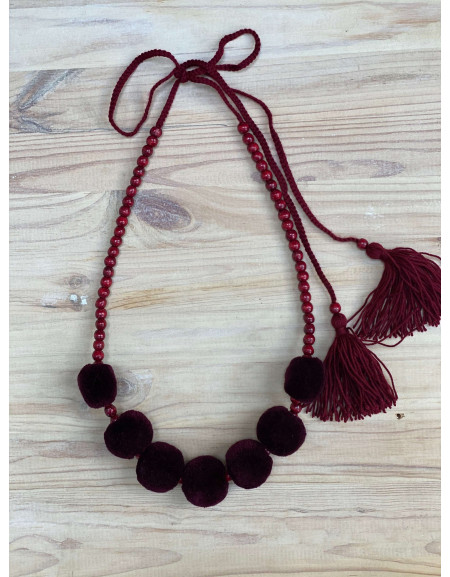 One Row Claret Necklace with Tassels