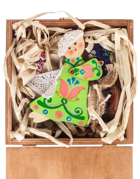 Набір №12g. Дерев'яна коробка, янгол дерев'яний, мед, чай, сіно