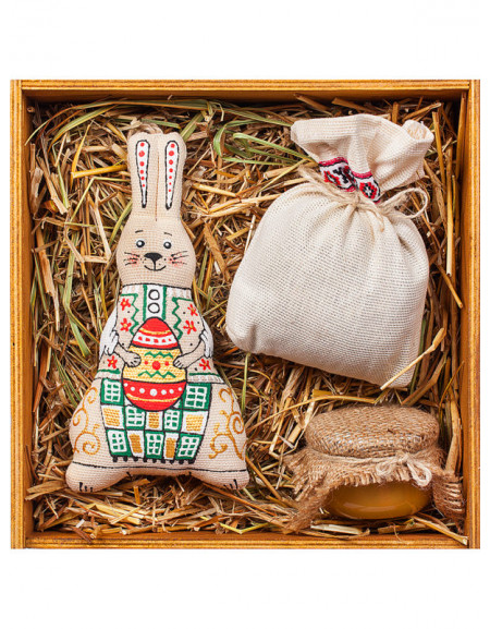 Set #52. Wooden box, hare with an Easter egg, tea, honey, hay