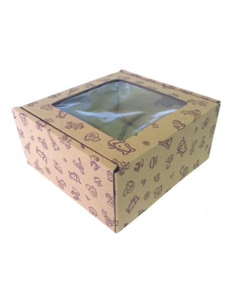 Branded carton box with a window