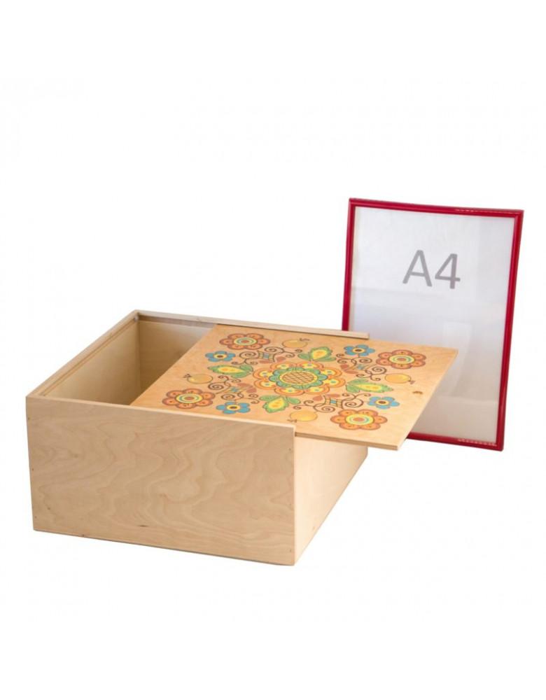 Коробка з фанери 32*32 світла з квіткою