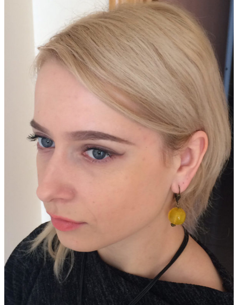 Yellow Venetian glass earrings