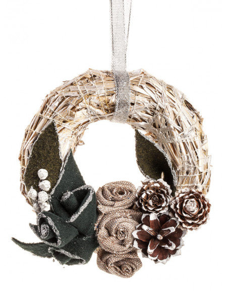 Small silver wreath with green flowers
