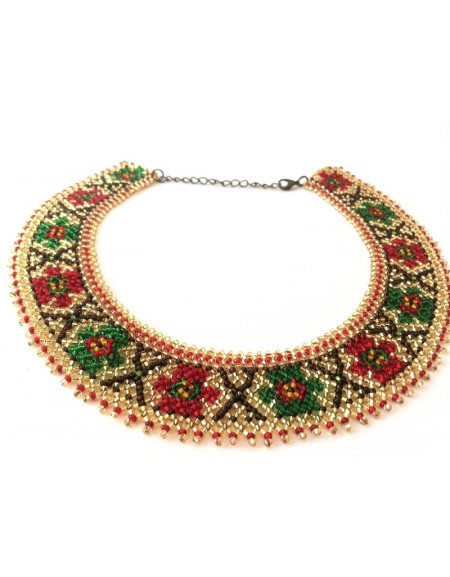 Beaded Necklace (gold with red and green flowers)