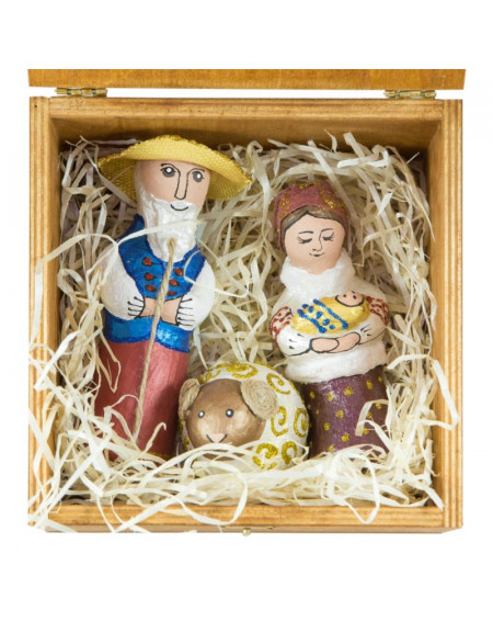 Set №06 • Wooden box, Joseph and Mary with a Child, ram