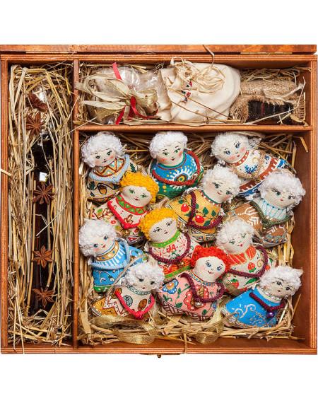 Набір №23 • Коробка 35х37, 12 янголів, пряники, мед, чай