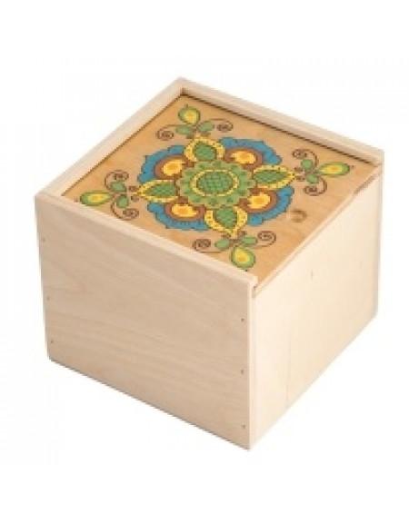 Коробка 14*14 з фанери світла з квіткою
