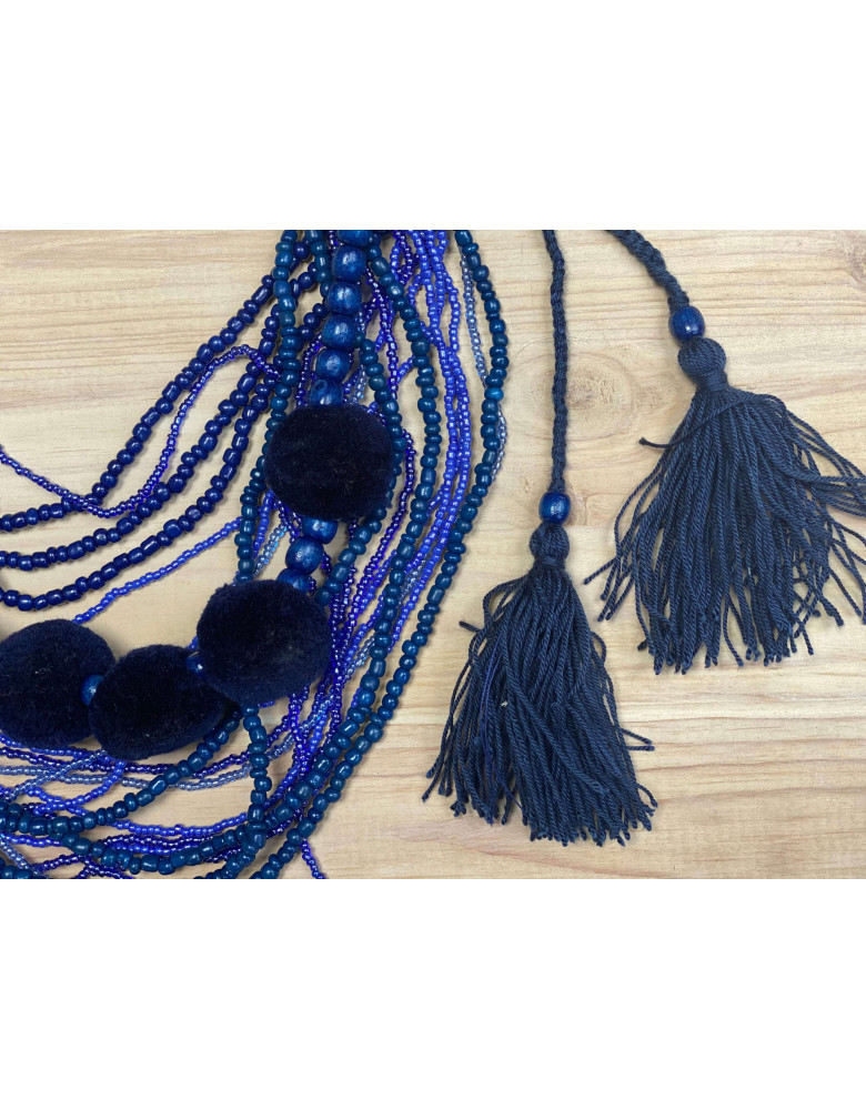 Blue Beaded Necklace with Tassels